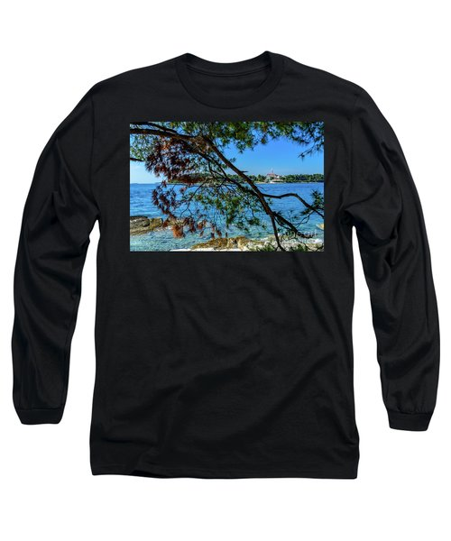 Rovinj Old Town Accross The Adriatic Through The Trees Long Sleeve T-Shirt