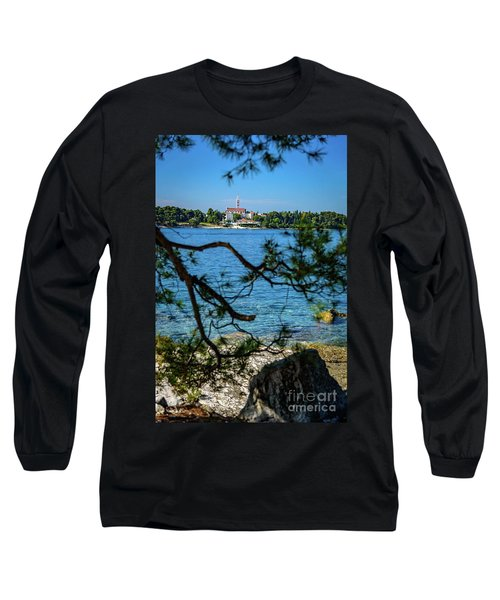 Rovinj Seaside Through The Adriatic Trees, Istria, Croatia Long Sleeve T-Shirt