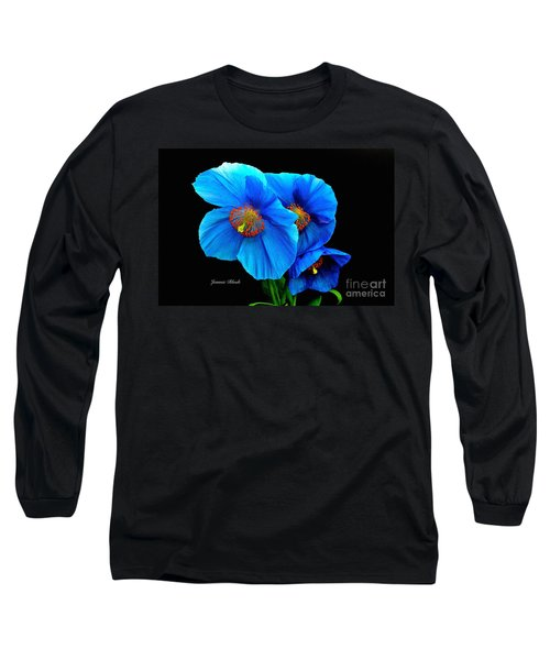 Royal Blue Poppies Long Sleeve T-Shirt