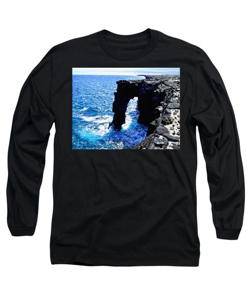 Long Sleeve T-Shirt featuring the photograph Rugged Kona Sea Arch by Amy McDaniel