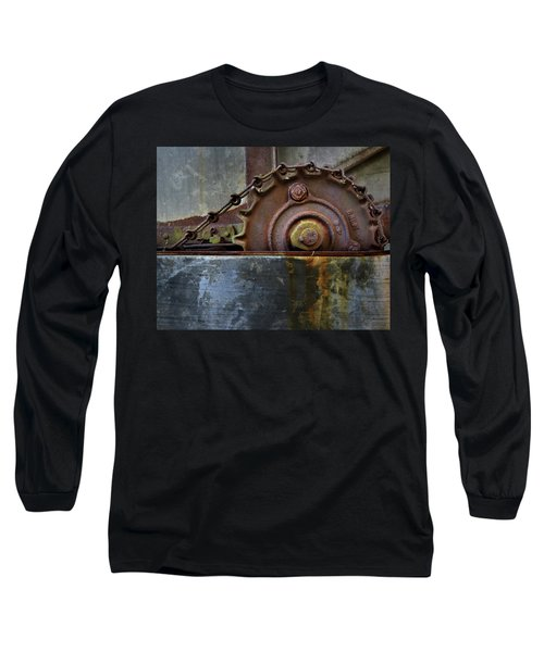 Long Sleeve T-Shirt featuring the photograph Rustic Gear And Chain by David and Carol Kelly