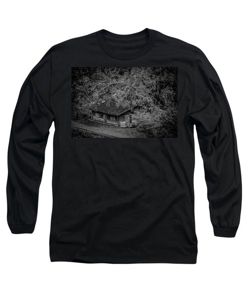 Long Sleeve T-Shirt featuring the photograph Rustic Log Cabin In Black And White by Kelly Hazel