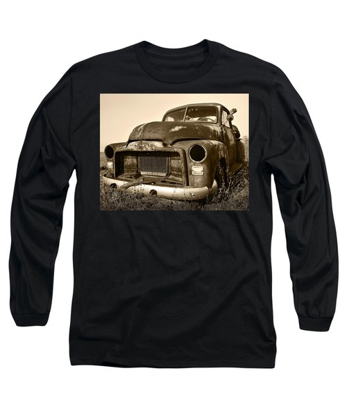 Rusty But Trusty Old Gmc Pickup Truck - Sepia Long Sleeve T-Shirt