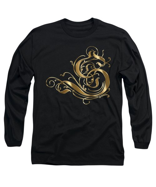 S Golden Ornamental Letter Typography Long Sleeve T-Shirt by Georgeta Blanaru