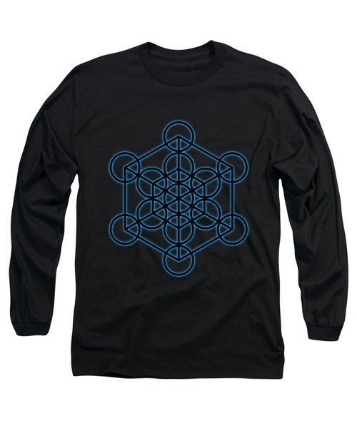 Sacred Geometry - Black Hexahedron Cube With Blue Halo Over Black Canvas Long Sleeve T-Shirt