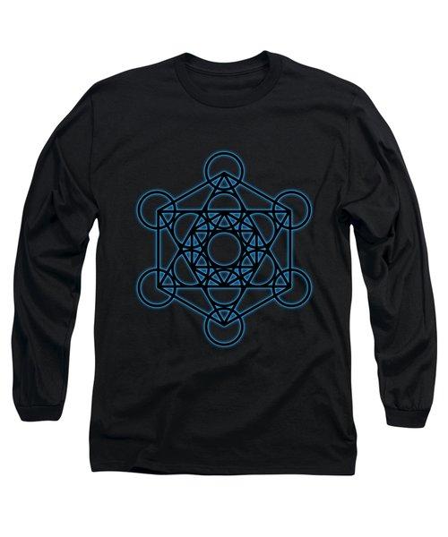 Sacred Geometry - Black Octahedron With Blue Halo Over Black Canvas Long Sleeve T-Shirt