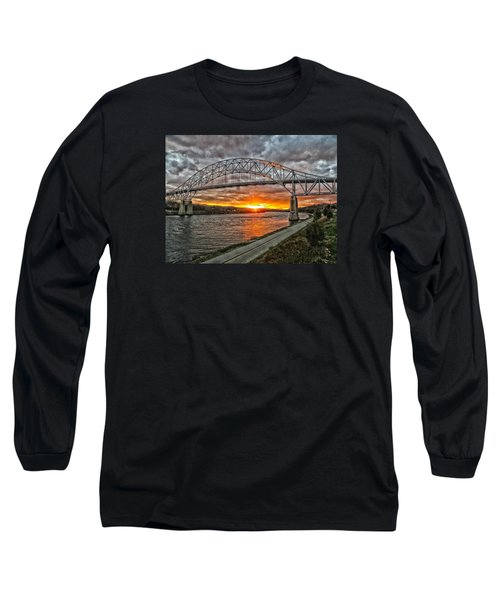 Long Sleeve T-Shirt featuring the photograph Sagamore Bridge Sunset by Constantine Gregory