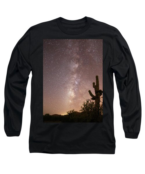 Saguaro Cactus And Milky Way Long Sleeve T-Shirt