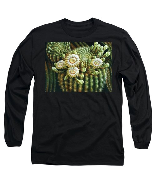 Saguaro Cactus Blossoms Long Sleeve T-Shirt by James Larkin