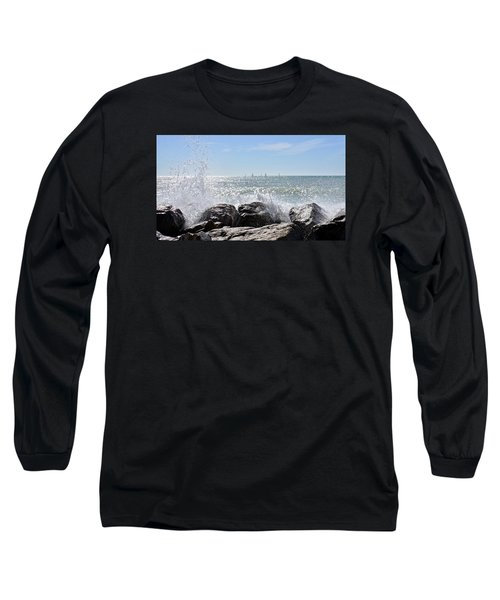 Sailboats And Surf Long Sleeve T-Shirt by Carol Bradley