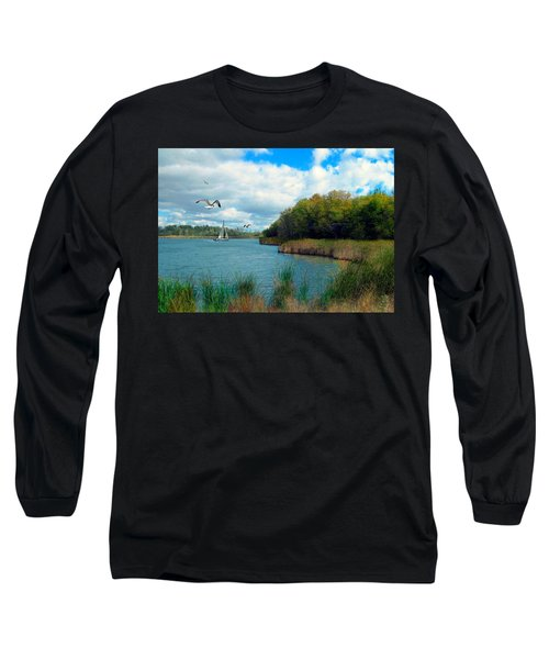 Sails In The Distance Long Sleeve T-Shirt by Cedric Hampton