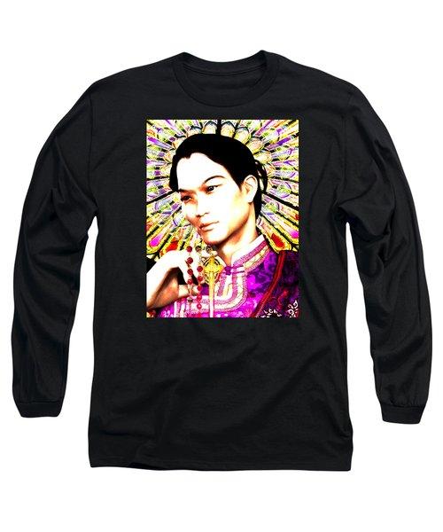 Long Sleeve T-Shirt featuring the painting Saint Lorenzo Ruiz by Suzanne Silvir
