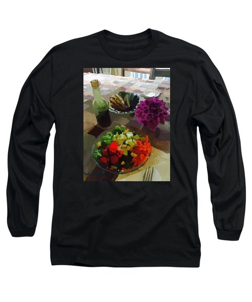 Salad And Dressing With Squash And Dahlia Long Sleeve T-Shirt by Melissa Abbott