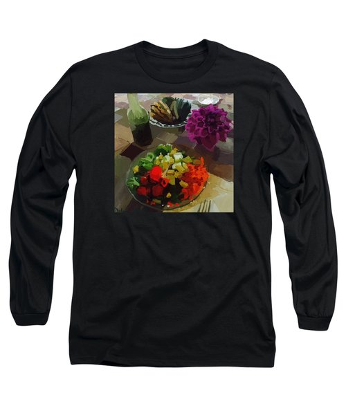 Salad And Dressing With Squash And Purple Dahlia Long Sleeve T-Shirt