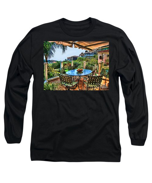 Long Sleeve T-Shirt featuring the digital art San Clemente Estate Patio by Kathy Tarochione