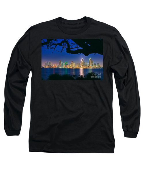 San Diego Skyline From Bay View Park In Coronado Long Sleeve T-Shirt by Sam Antonio