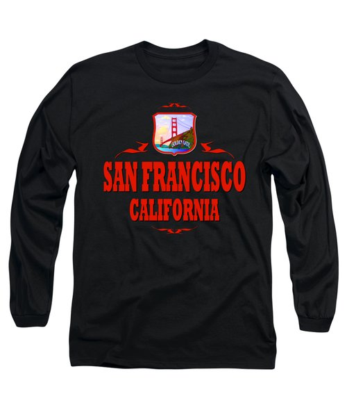 San Francisco California Tshirt Design Long Sleeve T-Shirt by Art America Gallery Peter Potter