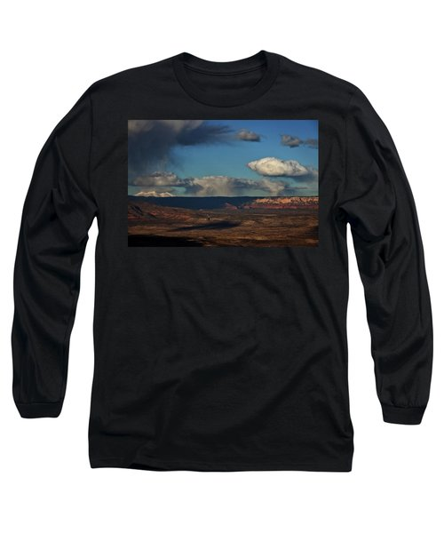 Long Sleeve T-Shirt featuring the photograph San Francisco Peaks With Snow And Clouds by Ron Chilston