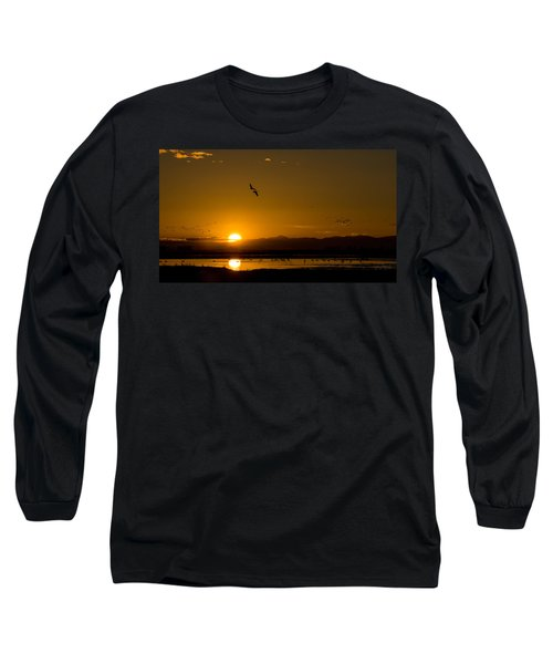 Sandhill Crane Sunrise Long Sleeve T-Shirt