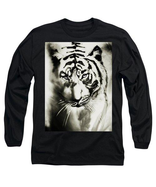 Sandy Tiger Long Sleeve T-Shirt by Elena Vedernikova