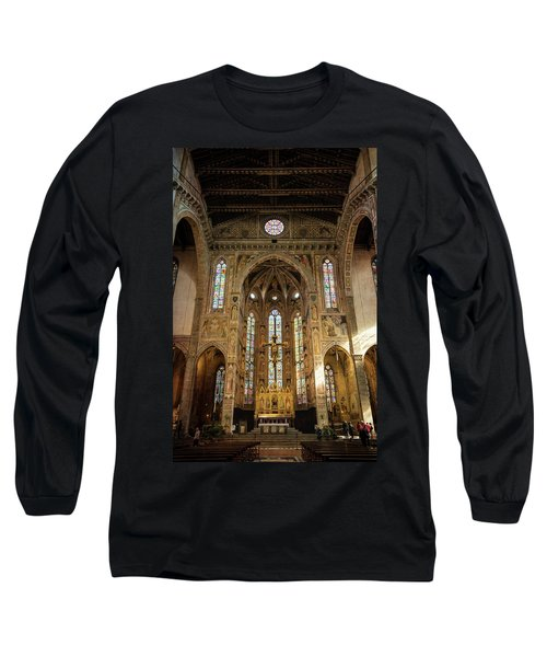 Long Sleeve T-Shirt featuring the photograph Santa Croce Florence Italy by Joan Carroll