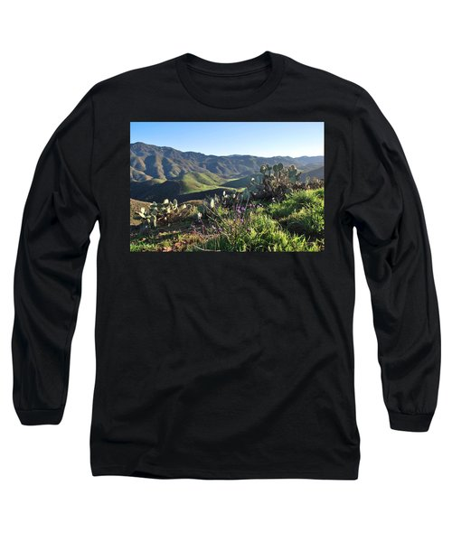 Santa Monica Mountains - Cactus Hillside View Long Sleeve T-Shirt