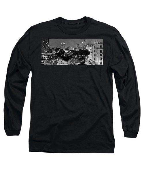 Sao Paulo Downtown At Night In Black And White - Correio Square Long Sleeve T-Shirt