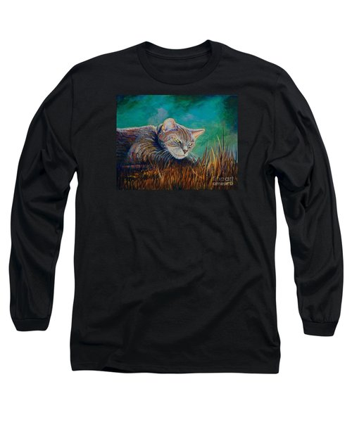 Long Sleeve T-Shirt featuring the painting Saphira's Lawn by AnnaJo Vahle