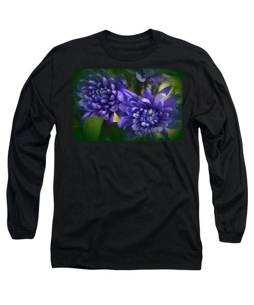 Sapphire Blue Chrysanthemums Long Sleeve T-Shirt