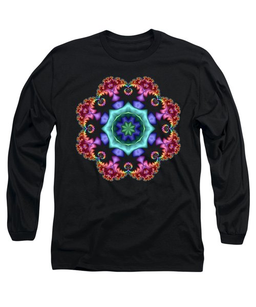 Satin Rainbow Fractal Flower I Long Sleeve T-Shirt