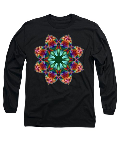 Satin Rainbow Fractal Flower II Long Sleeve T-Shirt