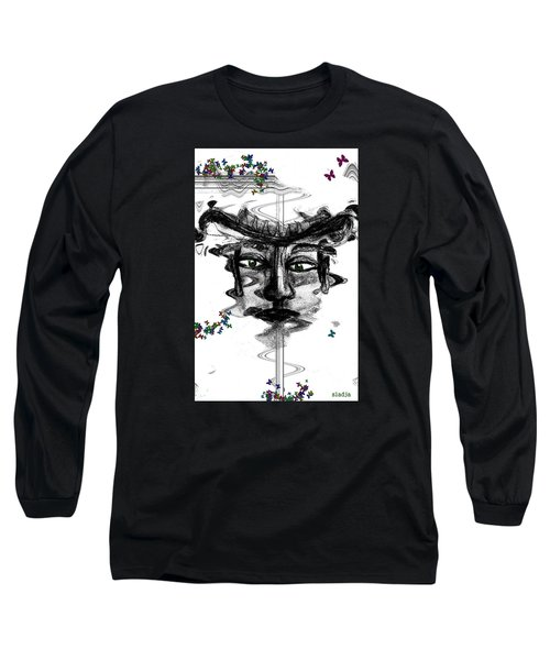 Long Sleeve T-Shirt featuring the drawing Save Me  by Sladjana Lazarevic