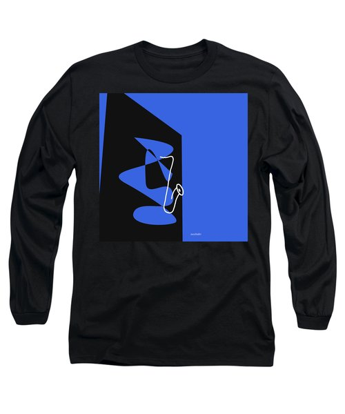 Long Sleeve T-Shirt featuring the digital art Saxophone In Blue by Jazz DaBri