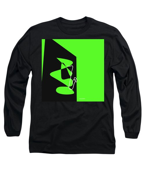 Long Sleeve T-Shirt featuring the digital art Saxophone In Green by Jazz DaBri