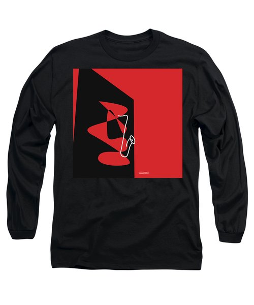 Long Sleeve T-Shirt featuring the digital art Saxophone In Red by Jazz DaBri