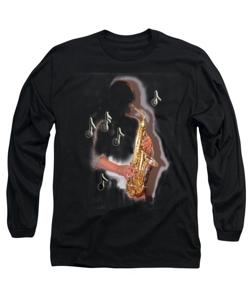 Saxophone Player Abstract  Long Sleeve T-Shirt