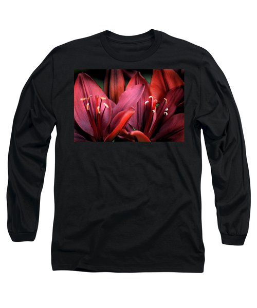 Scarlet Lilies Long Sleeve T-Shirt by Kathleen Stephens