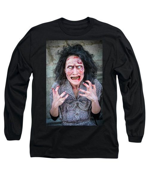 Scary Angry Zombie Woman Long Sleeve T-Shirt