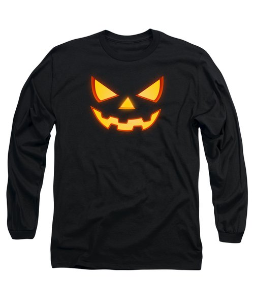 Scary Halloween Horror Pumpkin Face Long Sleeve T-Shirt by Philipp Rietz