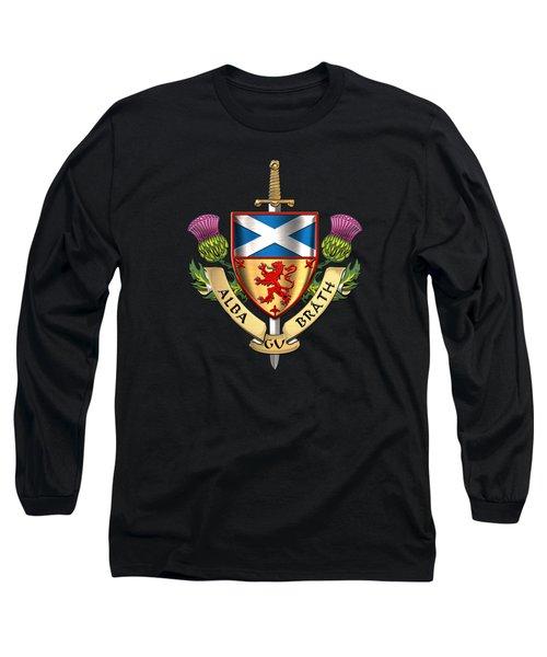 Scotland Forever - Alba Gu Brath - Symbols Of Scotland Over Black Velvet Long Sleeve T-Shirt