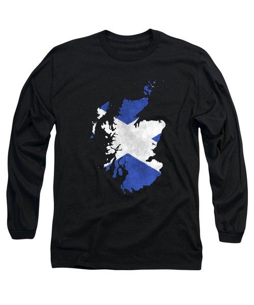 Scotland Map Art With Flag Design Long Sleeve T-Shirt