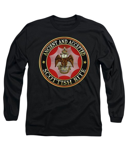 Scottish Rite Double-headed Eagle On Black Leather Long Sleeve T-Shirt