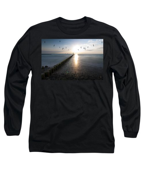 Sea Birds Sunset. Long Sleeve T-Shirt by Nathan Wright