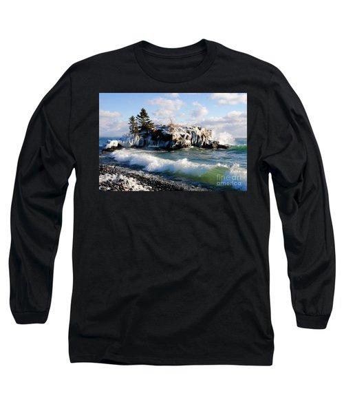 Sea Smoke At Hollow Rock Long Sleeve T-Shirt by Sandra Updyke
