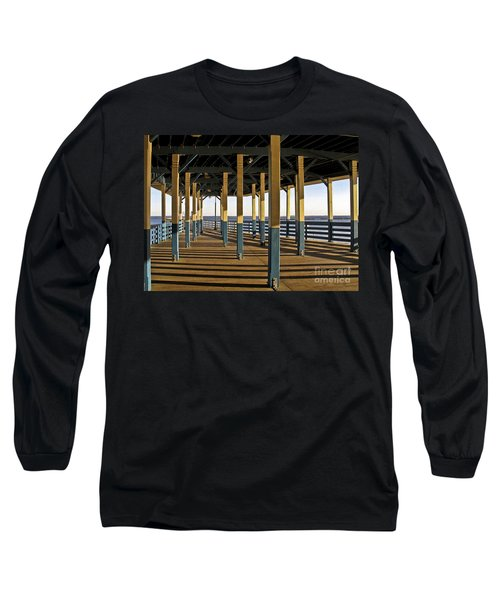 Seascape Walk On The Pier Long Sleeve T-Shirt by Carol F Austin