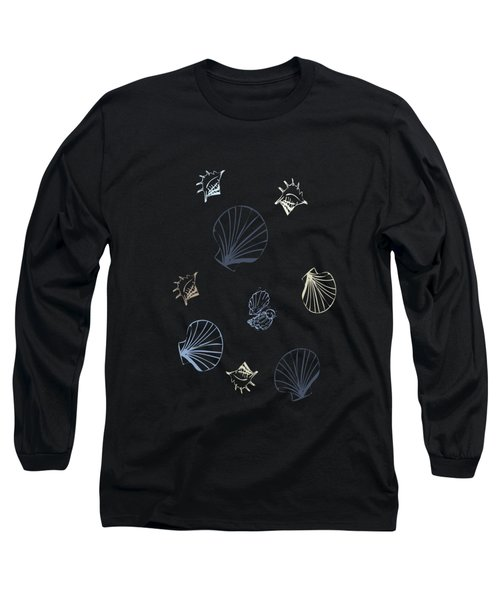 Long Sleeve T-Shirt featuring the mixed media Seashell Pattern by Christina Rollo