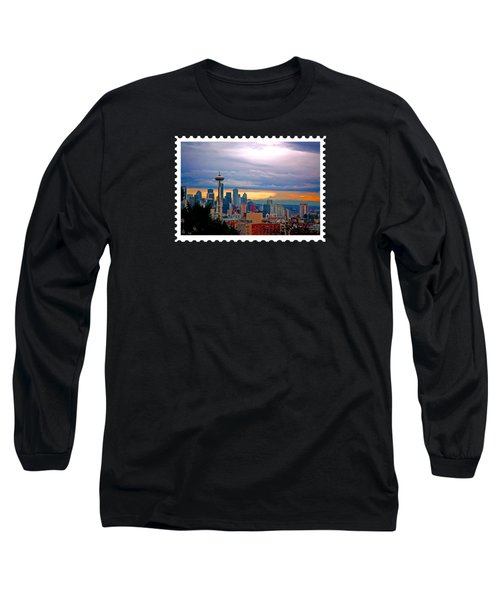 Seattle At Sunset Long Sleeve T-Shirt by Elaine Plesser