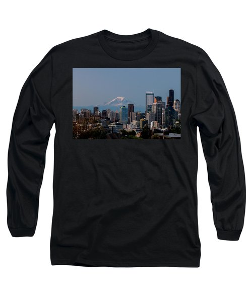 Long Sleeve T-Shirt featuring the photograph Seattle-mt. Rainier In The Morning Light .1 by E Faithe Lester