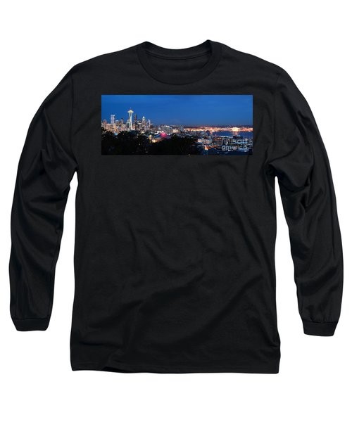 Long Sleeve T-Shirt featuring the photograph Seattle Panorama At Twilight by Peter Simmons