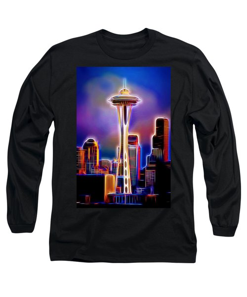 Long Sleeve T-Shirt featuring the photograph Seattle Space Needle 1 by Aaron Berg